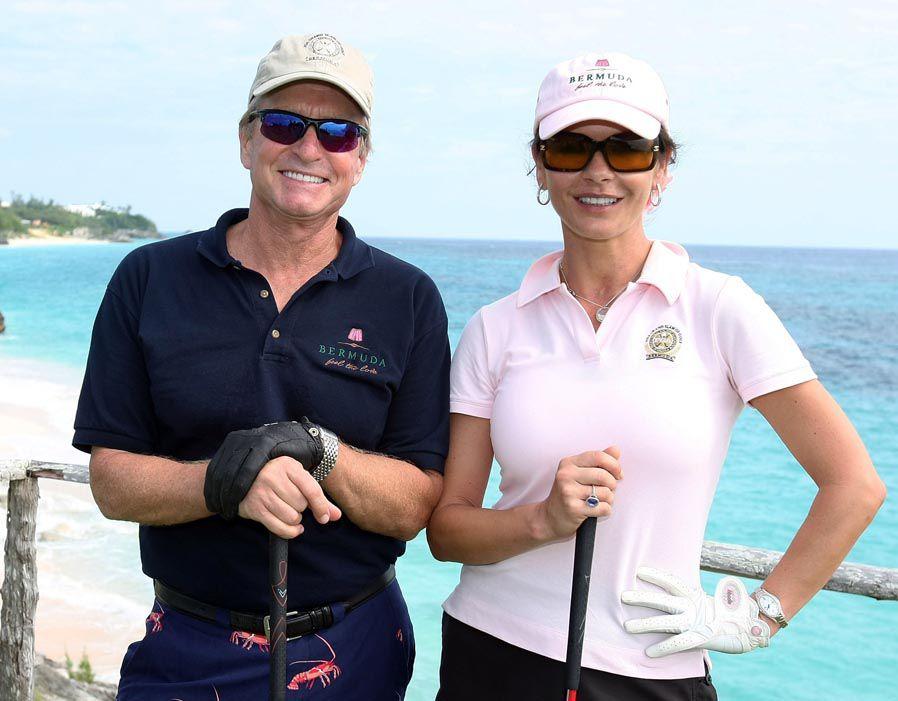 Michael Douglas and Catherine Zeta Jones at Mid Ocean Golf Club